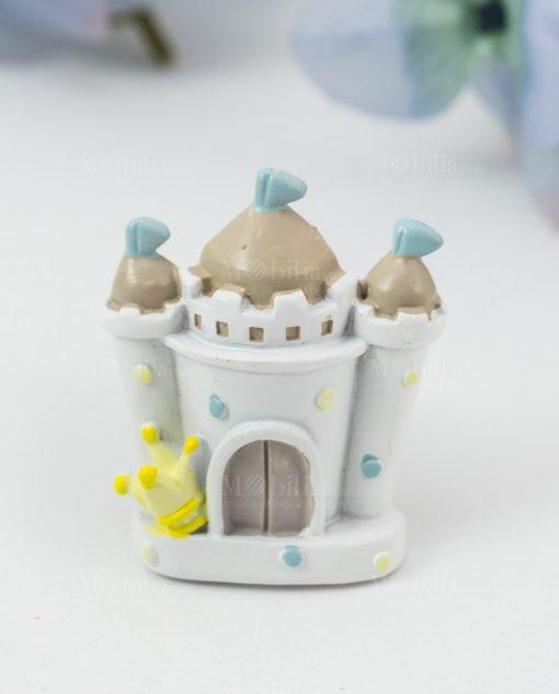 magnete castello bimbo bianco con bandierine azzurre e corona
