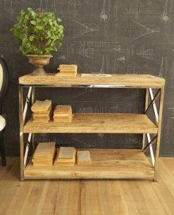 mobile tavolino 3 piano legno e ferro orchidea milano
