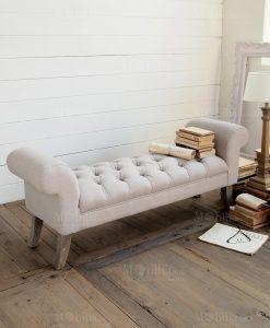 panchina trapuntata grigio chiaro con piedi legno orchidea milano