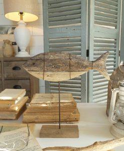 pesce decorativo legno con base orchidea milano
