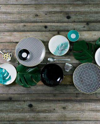 piatti piani fondi e dessert con disegni geometrici e foglie collezione urban jungle villa deste