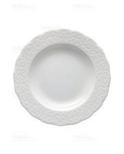 piatto fondo bianco porcellana bone linea gran galà brandani
