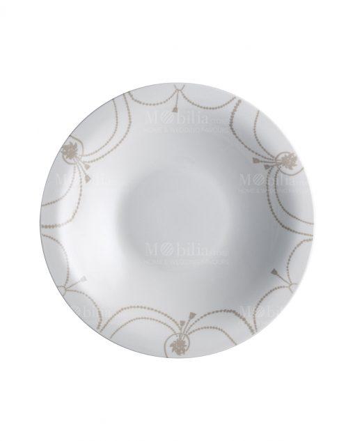 piatto fondo rotondo bianco con decoro tortora linea deco brandani