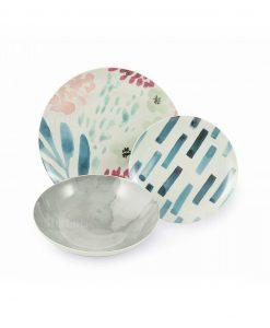 piatto piano con decoro floreale piatto dessert con striscie di colore e piatto fondo grigio collezione acquerello villa deste