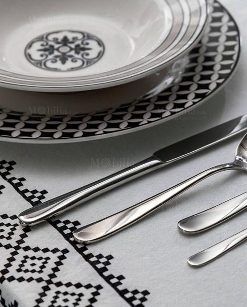 piatto piano e fondo bianco e nero linea alhambra brandani