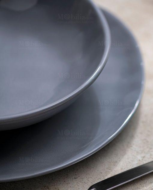 piatto piano e piatto fondo grigio linea sinfonia brandani