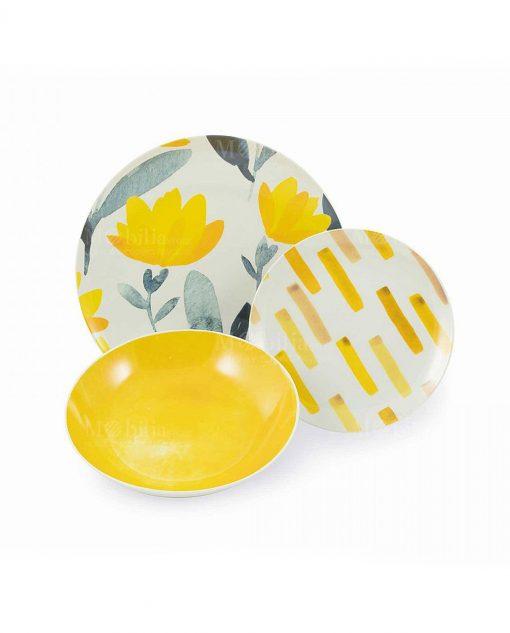 piatto piano fondo e frutta deforo floreale giallo collezione acquerello villa deste