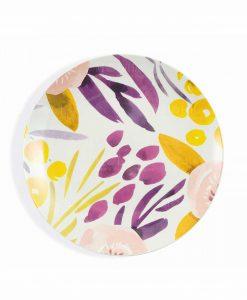 piatto piano porcellana con fondo bianco e stampa floreale gialla e viola collezione acquerello villa deste