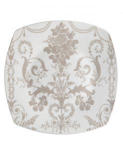 piatto piano quadrato bianco con decoro floreale tortora linea deco brandani