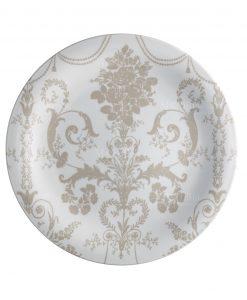 piatto piano rotondo bianco con decoro floreale tortora linea deco brandani