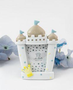 portafoto castello piccolo bimbo pois azzurri e corona