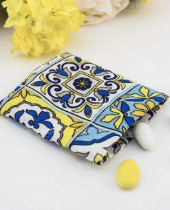 sacchetto portaconfetti cotone blu e giallo