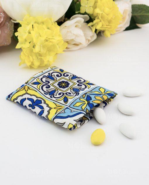 sacchetto portaconfetti stampa maioliche blu e giallo