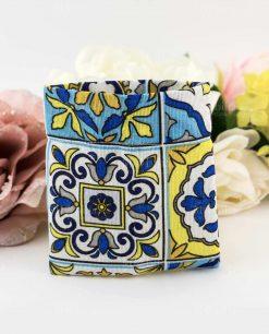 sacchetto portaconfetti stampa maioliche giallo e blu