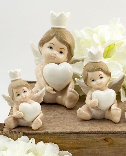 scultura angelo principe con cuore varie misure porcellana