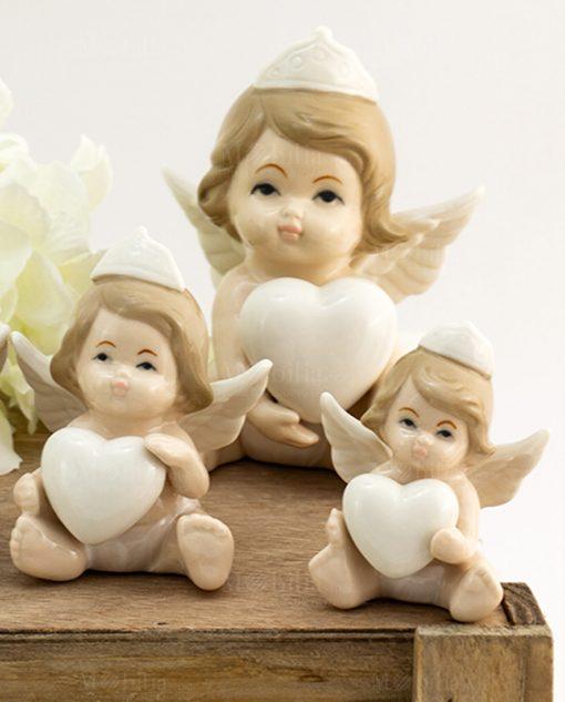 scultura angelo principessa con cuore varie misure porcellana
