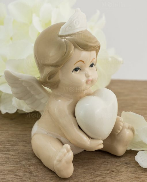 scultura porcellana angelo bimba corona e cuore