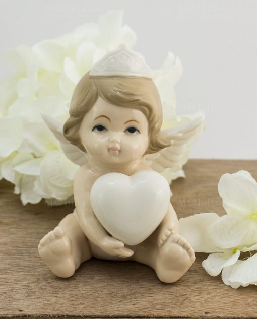 sculturina angelo bimba porcellana con cuore e corona grande
