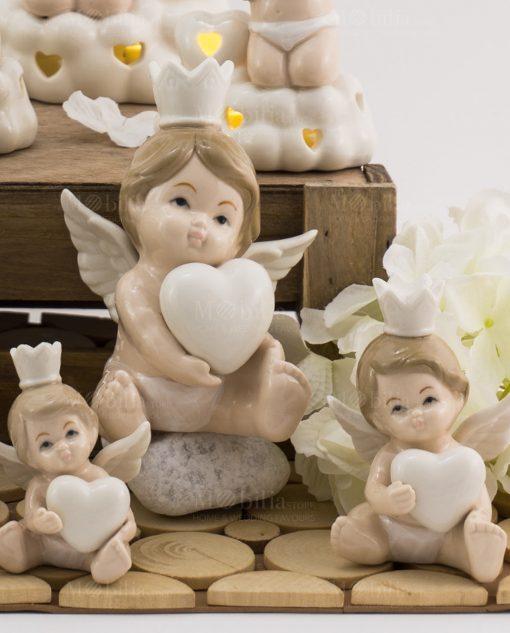 sculturina angioletto bimbo con cuore e corona varie misure