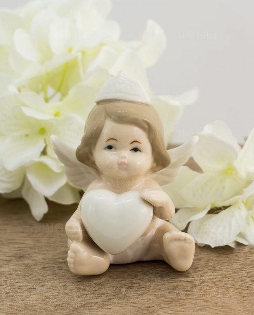 sculturina media angioletto bimba cuore e corona porcellana