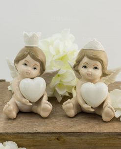 sculturina porcellana angioletto cuore bimbo e bimba grande