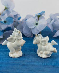 sculturina unicorno piccola porcellana con criniera azzurra