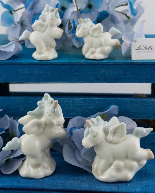 sculturina unicorno porcellana con criniera azzurra grande e piccola