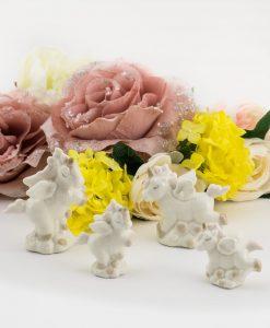 sculturina unicorno porcellana due forme assortite grande e piccola