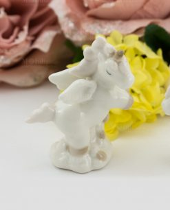 sculturina unicorno rampante porcellana bianca