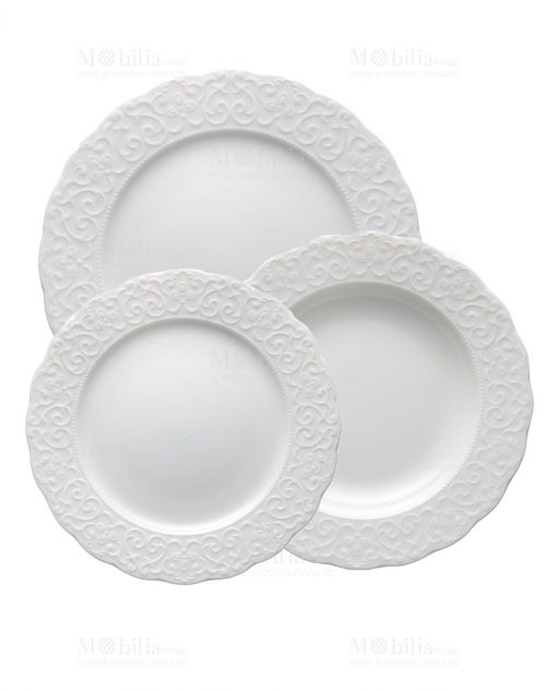 servizi opiatti bianchi porcellana bone con ricamo a rilievao linea gran galà brandani