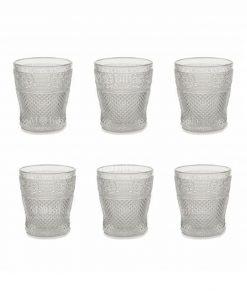 servizio 6 pezzi bicchieri acqua vetro trasparente decoro a rilievo collezione prisma villa deste