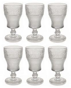 servizio 6 pezzi calice trasparente vino decoro geometrico a rilievo collezione prisma villa deste