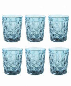 servizio bicchieri acqua cristallo blu villa deste