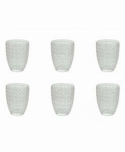 servizio bicchieri acqua vetro trasparente decoro geometrico collezione strand villa deste