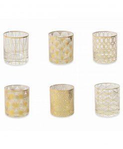 servizio bicchieri disegni geometrici color oro collezione opera villa deste