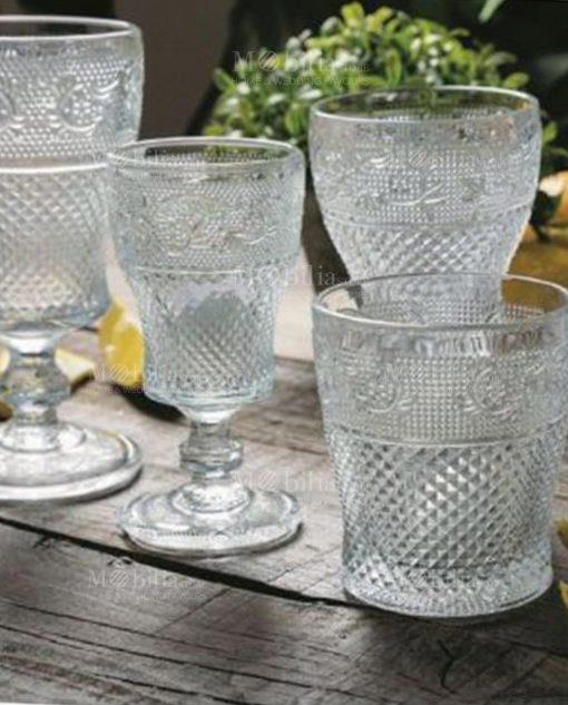 servizio bicchieri vetro liquore acqua e calice collezione prisma villa deste