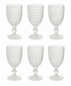 servizio calici vetro trasparente decoro geometrico collezione strand villa deste