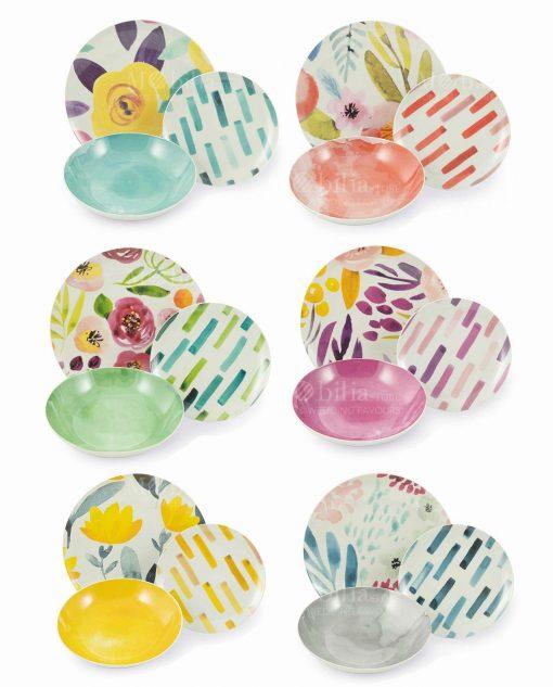 servizio piatti 18 pezzi deecori floreali colori pastello collezione acquerello villa deste