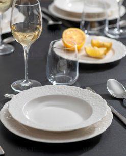 servizio piatti con decoro ricamo a rilievo linea gran galà brandani