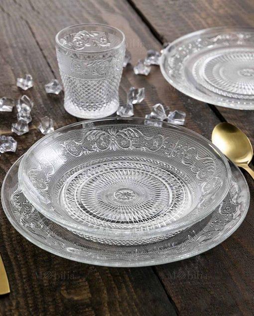 servizio piatti vetro decoro geometrico a riliievo collezione imperial villa deste