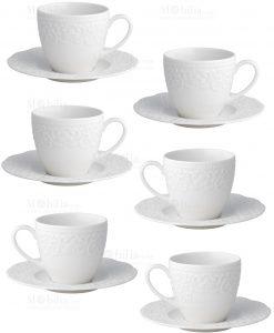 servizio tazzina caffè grande con piattino porcellana bone bianca con ricamo linea gran galà brandani