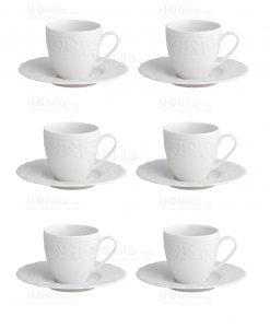servizio tazzina caffè piccola con piattino porcellana bone bianca con ricamo linea gran galà brandani