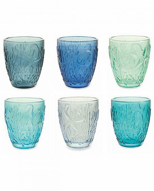set 6 bicchieri acqua soggetti tema mare a rilievo collezione pantelleria villa deste