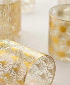 set 6 bicchieri vetro trasparente con decoro oro collezione opera villa deste
