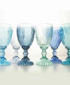 set 6 calici blu assortiti collezione pantelleria villa deste