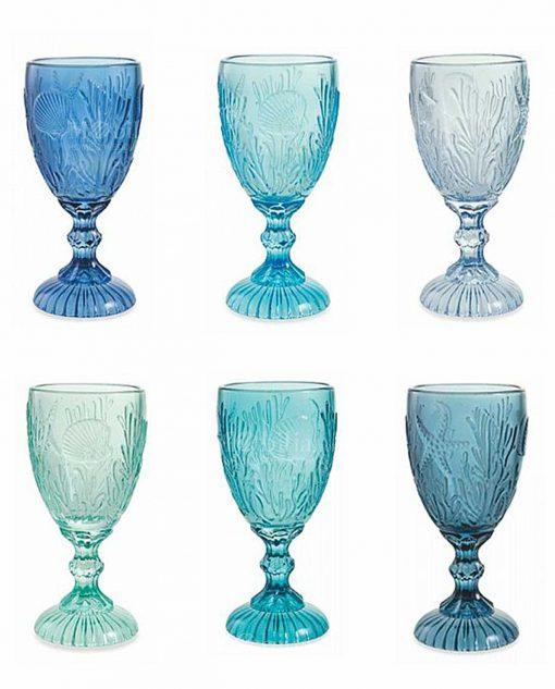 set 6 calici blu azzurri tiffany e turchese collezione pantelleria villa deste