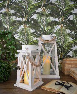 set lanterna due pezzi con corda e candela orchidea milano