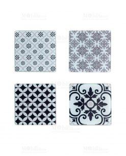 sottobicchieri quadrati con decoro geometrico set 4 pezzi linea alhambra brandani