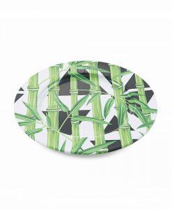 sottopiatto metallo con stampa foglie e forme geometriche collezione urban bamboo villa deste