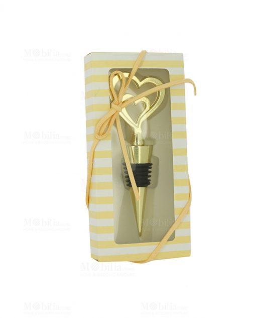 tappo per bottiglia con doppio cuore con scatola collezione orus
